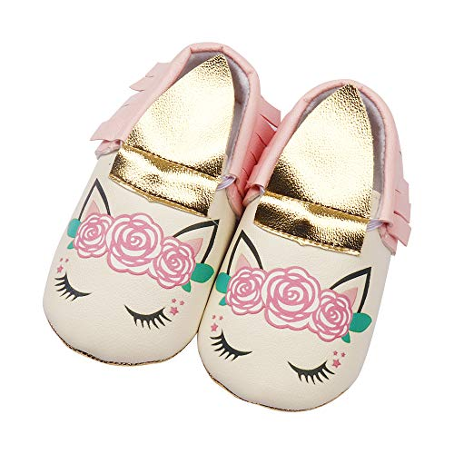 30f909a7562db Mary Jane – Baby Girl Unicorn Dress Shoes Marry Janes Walking Anti-Slip Crib  Falt Soft Sole PU Leather Infant Toddler for 0-18 Months (12cm/4.72 inches  6-12 ...