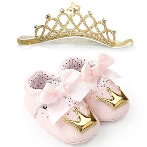 Isbasic Mary Jane Flat Shoes for Baby Girls Soft Sole Toddler Crib Dress Princese Shoes